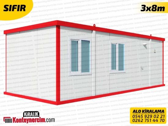 İki Odalı, WC+DUŞ ve Mutfaklı 3x8m Kiralık Konteyner - SIFIR